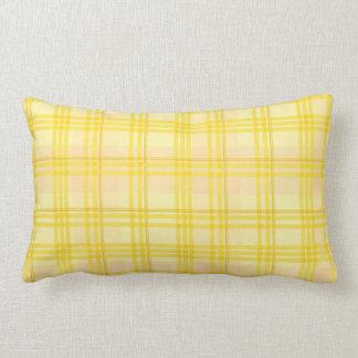 Tartán doble del amarillo y del melocotón - almoha almohada