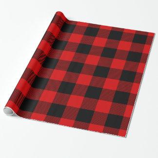 Tartán enorme negro rojo del leñador de la tela papel de regalo