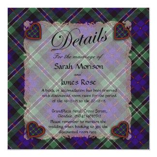 """Tartán escocés color de rosa del clan - tela invitación 5.25"""" x 5.25"""""""