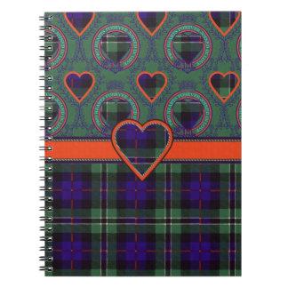 Tartán escocés color de rosa del clan - tela libreta espiral
