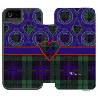 Tartán escocés de la falda escocesa de la tela funda billetera para iPhone 5 watson