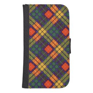 Tartán escocés de la falda escocesa de la tela fundas cartera de galaxy s4