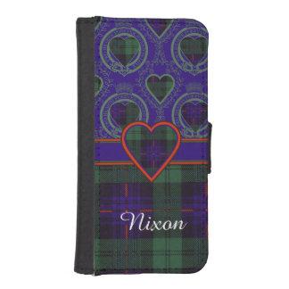 Tartán escocés de la falda escocesa de la tela fundas billetera para teléfono