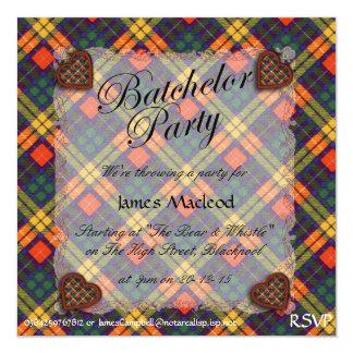 """Tartán escocés de la falda escocesa de la tela invitación 5.25"""" x 5.25"""""""