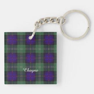 Tartán escocés de la falda escocesa de la tela llavero cuadrado acrílico a doble cara