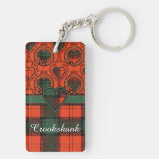 Tartán escocés de la falda escocesa de la tela llavero rectangular acrílico a doble cara