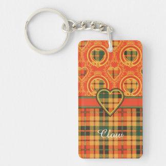 Tartán escocés de la falda escocesa de la tela llavero rectangular acrílico a una cara