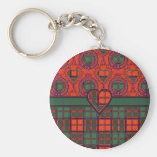 Tartán escocés de la falda escocesa de la tela llavero redondo tipo pin
