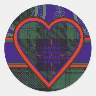 Tartán escocés de la falda escocesa de la tela pegatina redonda