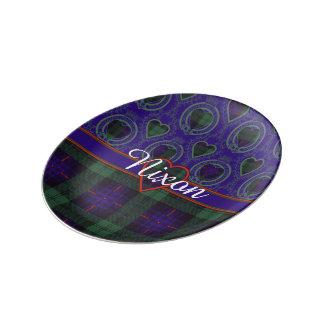 Tartán escocés de la falda escocesa de la tela platos de cerámica