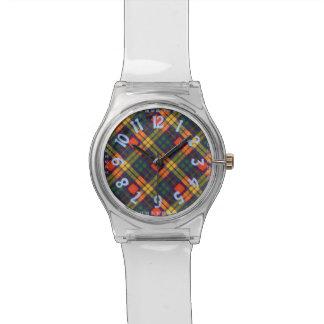 Tartán escocés de la falda escocesa de la tela relojes de pulsera