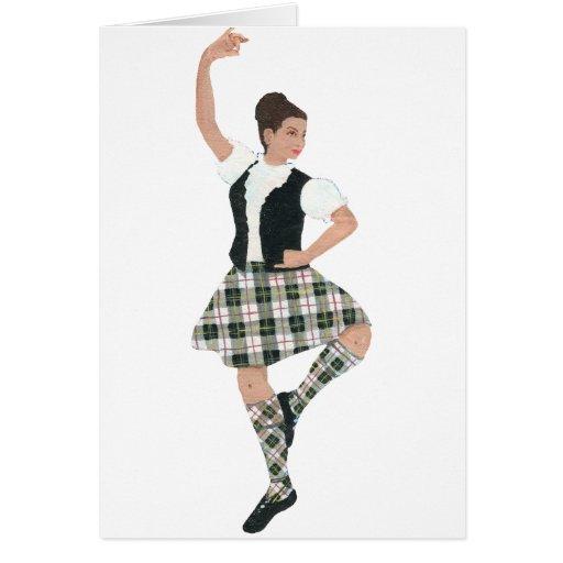 Tartán escocés de MacPherson del bailarín de la mo Felicitaciones