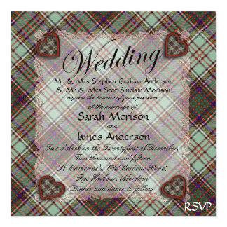 """Tartán escocés del clan de Anderson - tela Invitación 5.25"""" X 5.25"""""""