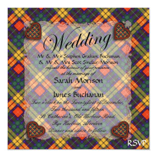 "Tartán escocés del clan de Buchanan - tela Invitación 5.25"" X 5.25"""