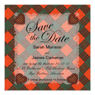 "Tartán escocés del clan de Cameron - tela escocesa Invitación 5.25"" X 5.25"""