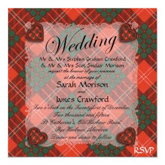 """Tartán escocés del clan de Crawford - tela Invitación 5.25"""" X 5.25"""""""