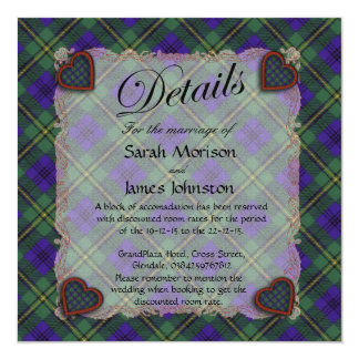 """Tartán escocés del clan de Johnston - tela Invitación 5.25"""" X 5.25"""""""