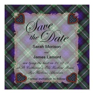 "Tartán escocés del clan de Lamont - tela escocesa Invitación 5.25"" X 5.25"""