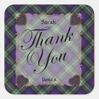 Tartán escocés del clan de Lamont - tela escocesa Pegatina Cuadrada
