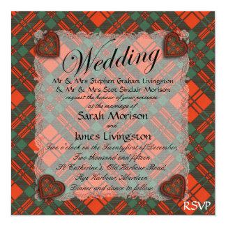 """Tartán escocés del clan de Livingston - tela Invitación 5.25"""" X 5.25"""""""