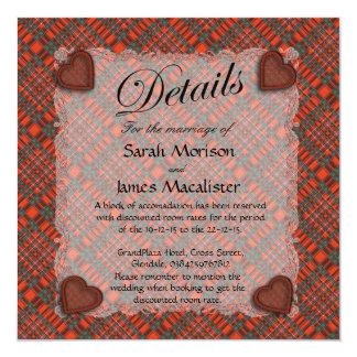 """Tartán escocés del clan de Macalister - tela Invitación 5.25"""" X 5.25"""""""