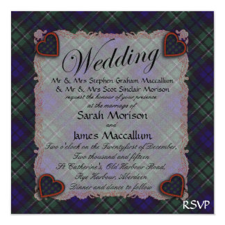 Tartán escocés del clan de Maccallum - tela Invitación 13,3 Cm X 13,3cm