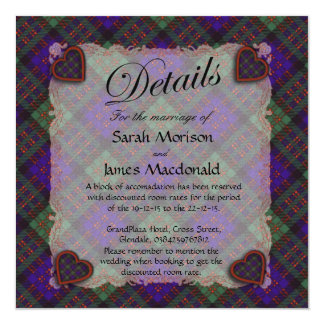 "Tartán escocés del clan de Macdonald - tela Invitación 5.25"" X 5.25"""