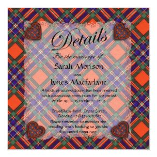 """Tartán escocés del clan de Macfarlane - tela Invitación 5.25"""" X 5.25"""""""