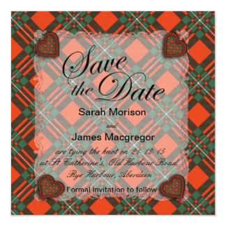 """Tartán escocés del clan de Macgregor - tela Invitación 5.25"""" X 5.25"""""""
