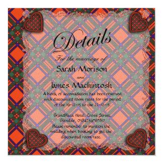 """Tartán escocés del clan de Machintosh - tela Invitación 5.25"""" X 5.25"""""""