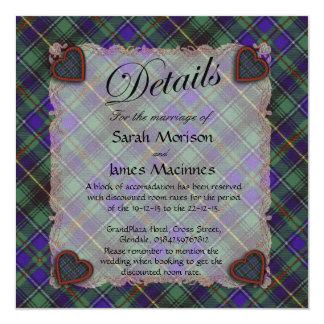 """Tartán escocés del clan de Macinnes - tela Invitación 5.25"""" X 5.25"""""""