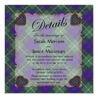 """Tartán escocés del clan de Macintyre - tela Invitación 5.25"""" X 5.25"""""""