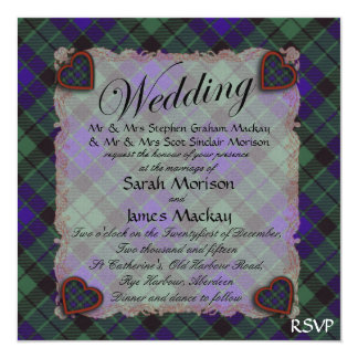 """Tartán escocés del clan de Mackay - tela escocesa Invitación 5.25"""" X 5.25"""""""