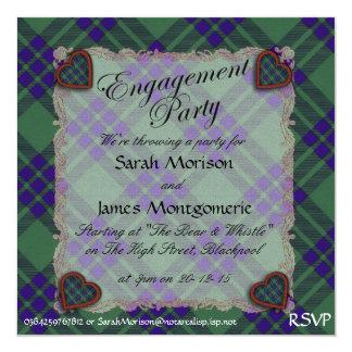 """Tartán escocés del clan de Montgomerie - tela Invitación 5.25"""" X 5.25"""""""