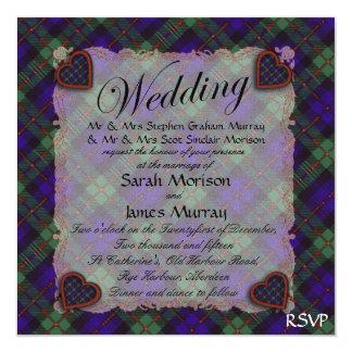 "Tartán escocés del clan de Murray - tela escocesa Invitación 5.25"" X 5.25"""