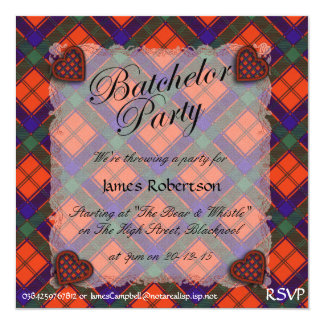 """Tartán escocés del clan de Robertson - tela Invitación 5.25"""" X 5.25"""""""
