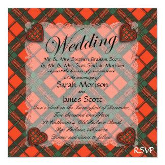 """Tartán escocés del clan de Scott - tela escocesa Invitación 5.25"""" X 5.25"""""""