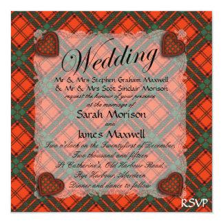"""Tartán escocés del clan del maxwell - tela invitación 5.25"""" x 5.25"""""""