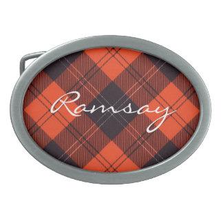 Tartán escocés oval de la hebilla del cinturón - R Hebillas Cinturón Ovales