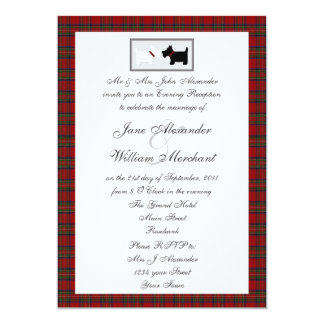 Tartan Evening Wedding Reception with Scottie Dogs Card