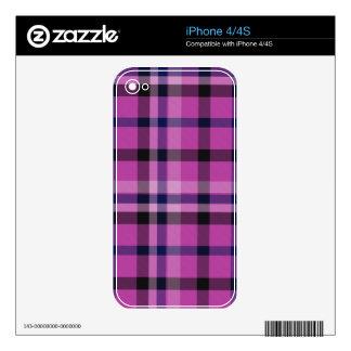 Tartán femenino o tela cruzada de la tela escocesa calcomanías para el iPhone 4S