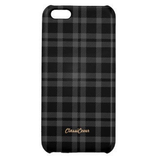 Tartan Gray Black Pattern Savvy Cover For iPhone 5C