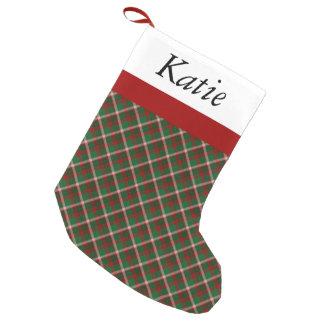 Tartan Green & Red Plaid Christmas Stocking Small Christmas Stocking