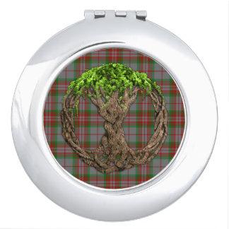 Tartán gris del clan y árbol de la vida céltico espejos compactos