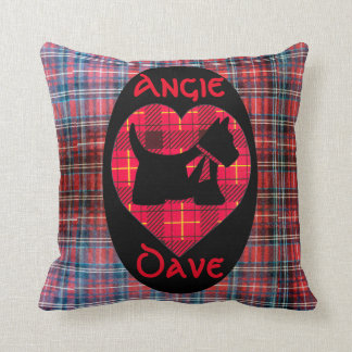 Tartan Heart Scotty Dog Throw Pillow