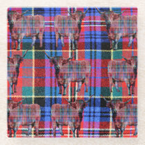 Tartan Highland Cow Pattern, Glass Coaster