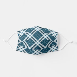 Tartan in Blue and white Cloth Face Mask
