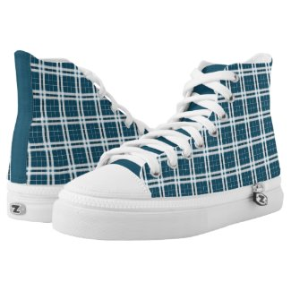 Tartan in Blue and white High-Top Sneakers