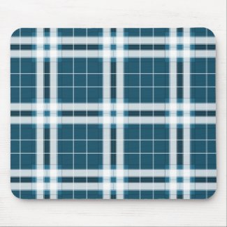 Tartan in Blue and white Mouse Pad