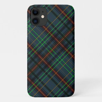 Tartan in blue, orange, green... iPhone 11 case